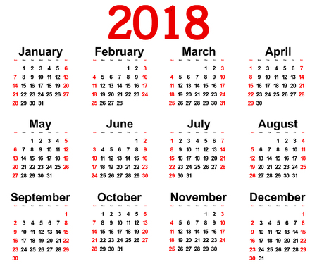 weekly: Great new wall calendar 2018. illustration Stock Photo