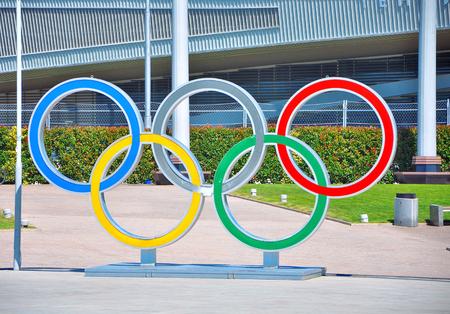 소 치, 러시아 -7 월 11 일 2017 소 치 올림픽 공원입니다. 올림픽 반지