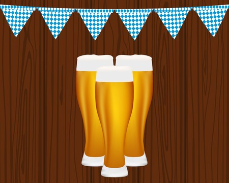 Beer and flags for the Oktoberfest Festival Illustration