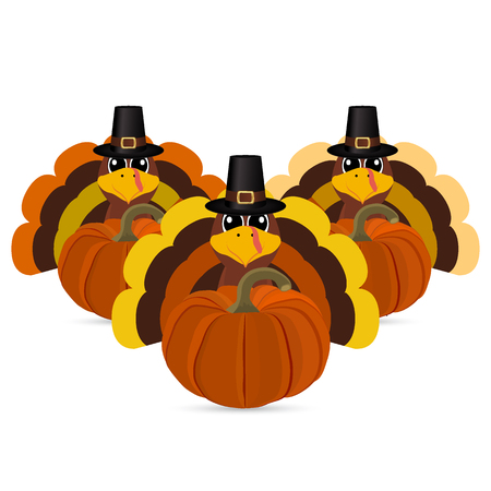 Turkeys cartoon with pumpkins