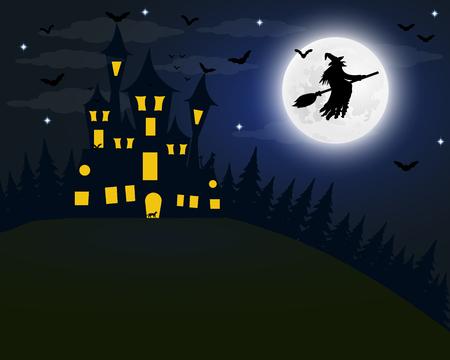 할로윈, 보름달에 마녀의 집. 박쥐와 늙은 g 스톡 콘텐츠 - 86923062