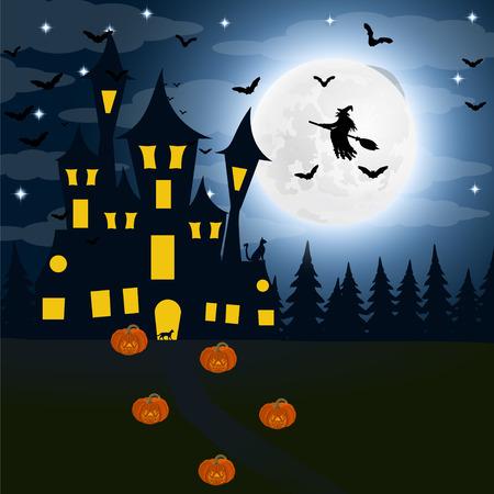 할로윈, 보름달에 마녀의 집. 박쥐 스톡 콘텐츠 - 87406756
