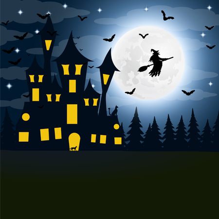 silueta de gato: Halloween, the witch s house on the full moon.
