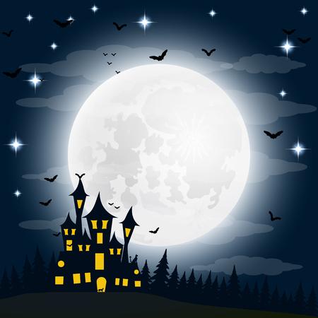 ハロウィーン、満月の魔女の家。ベクトル