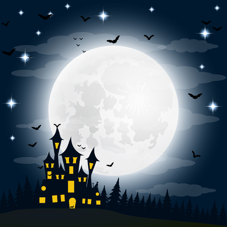 silueta de gato: Halloween, the witch s house on the full moon. vector