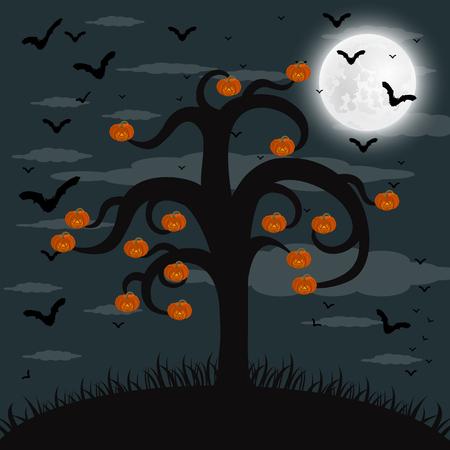 ハロウィーンの夜の森林  イラスト・ベクター素材