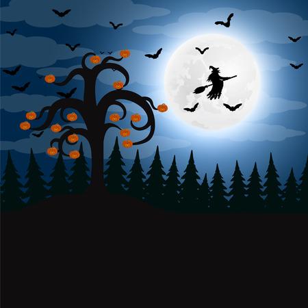 할로윈에 밤 숲 스톡 콘텐츠 - 87469026