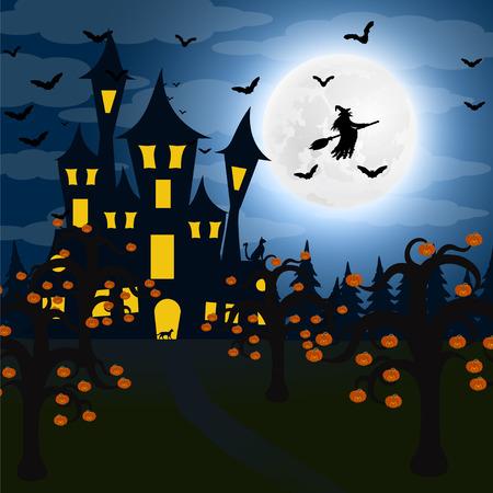 할로윈에 밤 숲