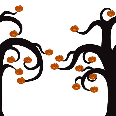 shrubbery: Silhouette of a tree for Halloween with burning pumpkins Illustration