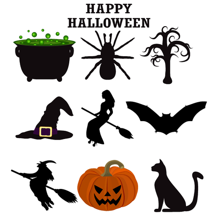 Silhouettes set for Halloween party Illustration