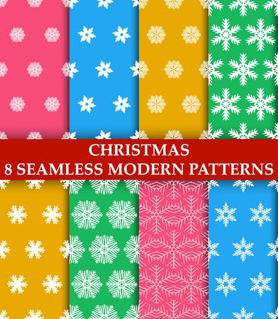 Christmas snowflakes. 8 seamless modern patterns illustration