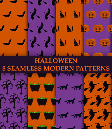 Halloween party. 8 seamless modern patterns illustration Illustration