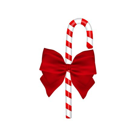 Traditional Christmas candy with bow