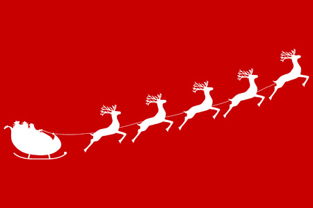 Santa Claus rides in a sleigh in harness on the reindeer Illustration