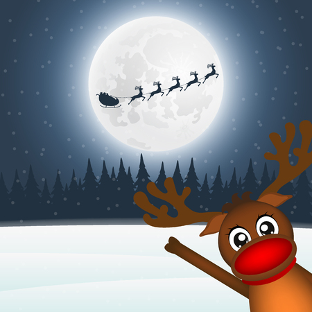 Reindeer waving his paw in the forest of Santa Claus. Santa flie Illustration