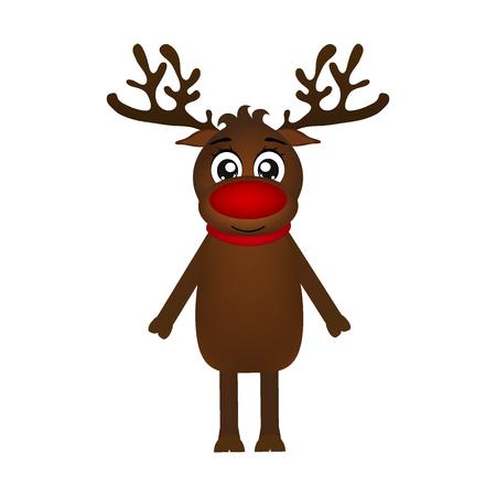 Cheerful cartoon reindeer on a white background, vector illustra