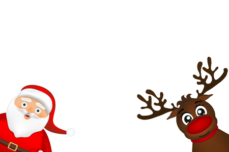 Santa Claus and reindeer peeking on the side on a white backgrou