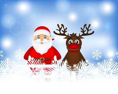 Santa Claus and reindeer on Christmas background with snowflakes