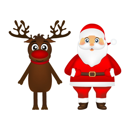 Santa Claus and reindeer on white background Illustration