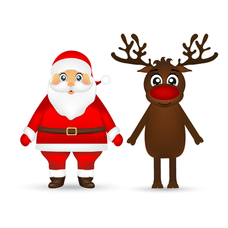 Santa Claus and reindeer on white background Ilustração