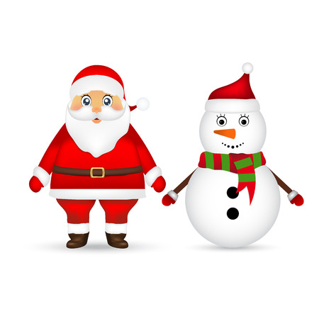 Santa Claus and Christmas snowman on a white background Illustration