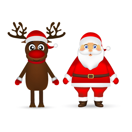 Santa Claus and reindeer on white background Ilustração