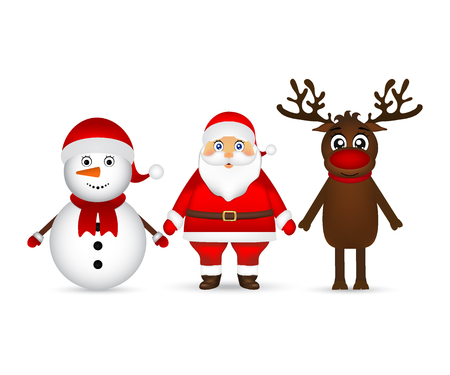 Santa Claus with reindeer and a snowman standing on a white back