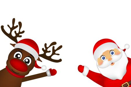 Santa Claus and reindeer peeking on the side on a white background