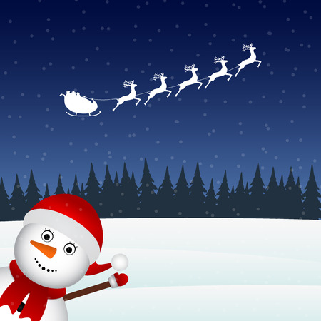 Snowman escorts Santa Claus in the woods Stock Photo