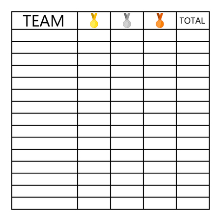 Tournament table of tests of medals in competitions. Illustration