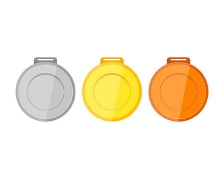Collection of medals for the champions on white background vector illustration