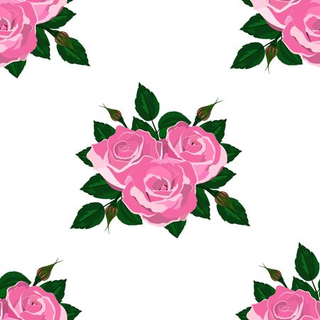 Seamless wallpaper pink roses on a white background with leaves