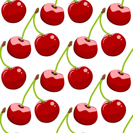 Seamless background, cherry on a white background.