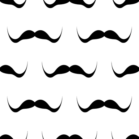 Seamless background, mustache on white background.