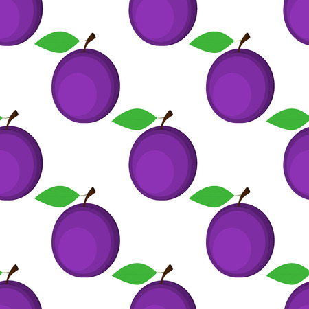 Seamless background, plum on white background.