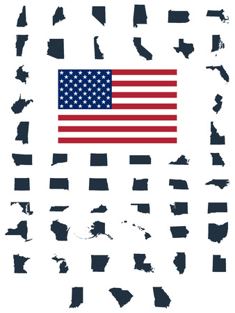 Set of US states maps