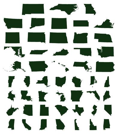 Set of US states maps. Vettoriali