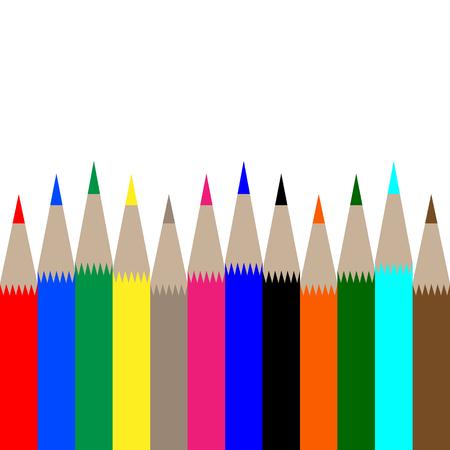 multicolored pencils on white background vector illustration