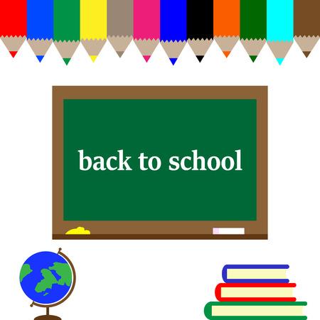 back to school postcard, school board in colorful pencils