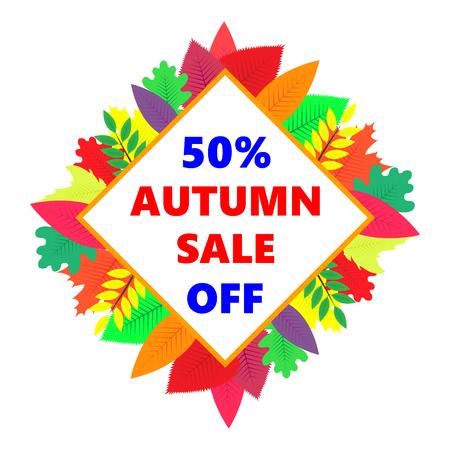 Autumn sale, vector design banner with colored leaves illustration. Ilustração