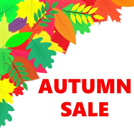 Sales banner with autumn leaves, White background Ilustração