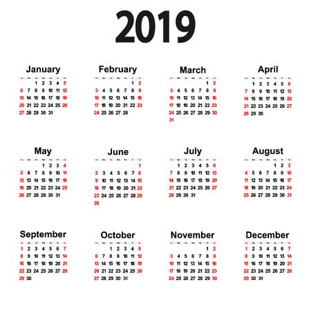 Great new wall calendar 2019. Vector illustration icon