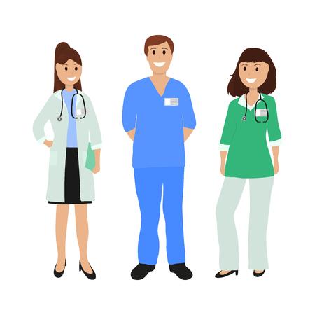 Group of doctors in a hospital, flat design cartoon vector illustration Ilustração