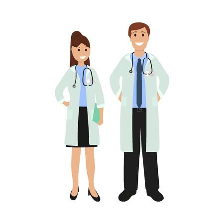 Two doctor in hospital, flat design vector Ilustração