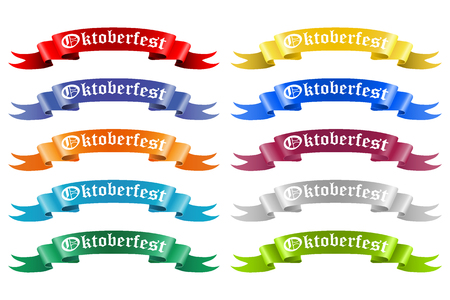 Collection of colored ribbons with the text Oktoberfest vector