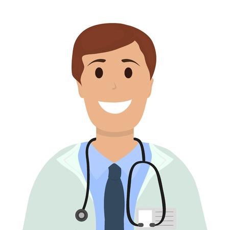 Doctor man in Hospital, flat design cartoon vector illustration