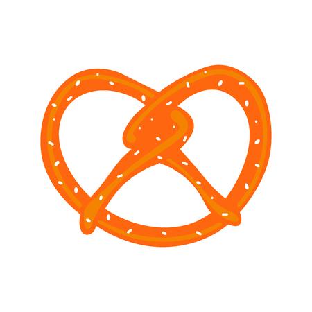 Bavarian pretzel,abstract cute pretzel on a white background vector,Oktoberfest
