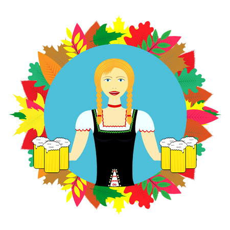 Waitress wit beer mugs decorated With Colorful Leaves,Bavaria Oktoberfest