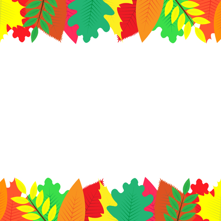 background decorated with colorful autumn leaves Stockfoto