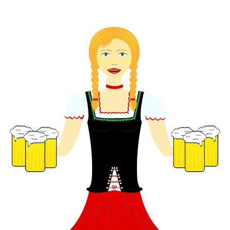 Waitress wit beer mugs decorated,Bavaria Oktoberfest, vector